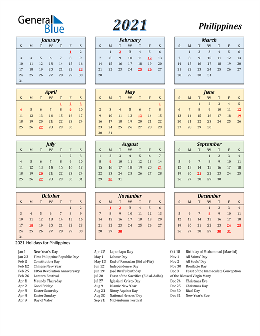 2021 Calendar Philippines With Holidays