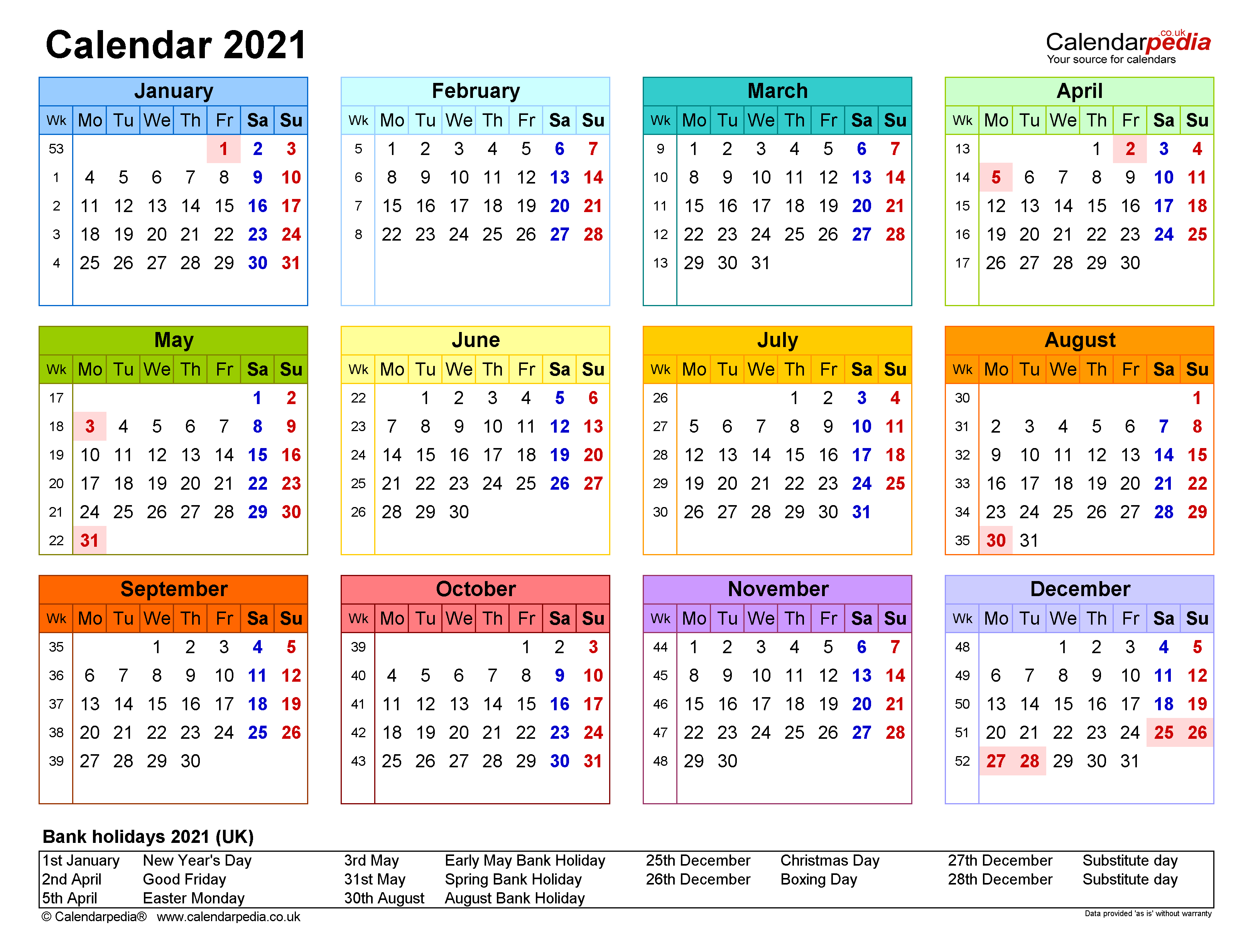2021 Yearly Calendar With Week Numbers ...