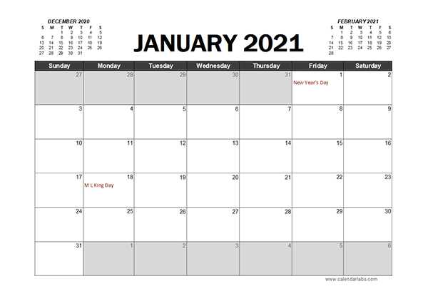 Monthly 2021 Excel Calendar Planner Free Printable Templates