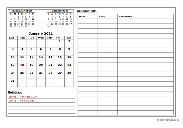 2021 Monthly Appointment Calendar Free Printable Templates