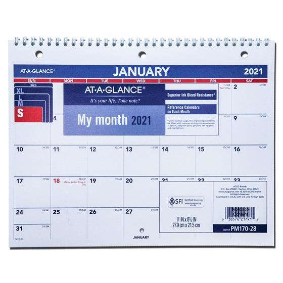2021 At A Glance PM170 28 Monthly Desk Wall Calendar 11