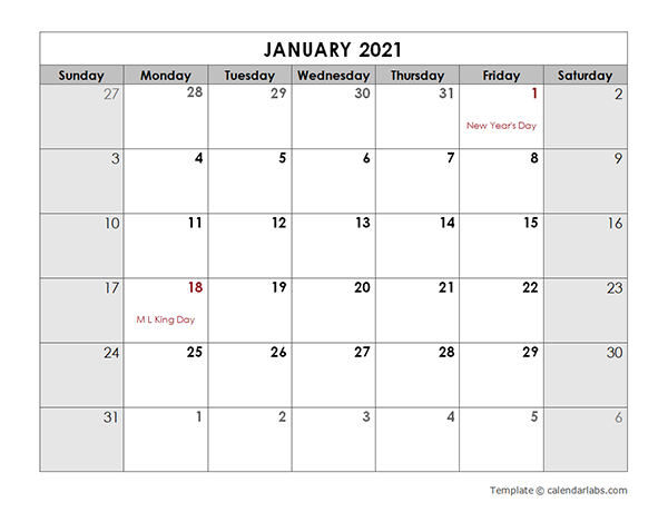 2021 Monthly Calendar With US Holidays Free Printable