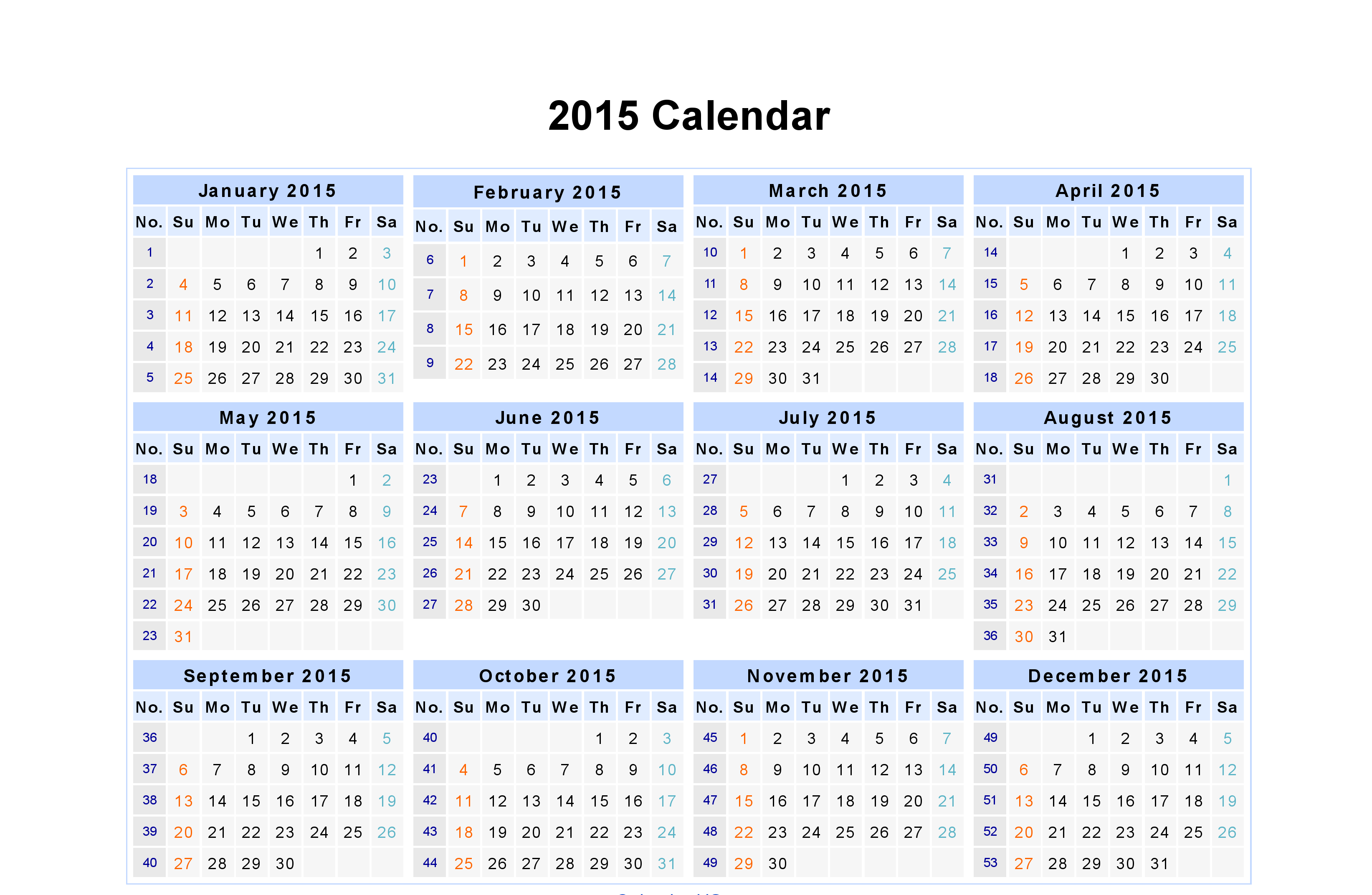 Day weekly Monthly Calendar Of Year 2015 Printable