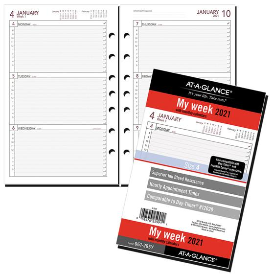 2021 At A Glance 061 285Y Day Runner Weekly Planner Refill