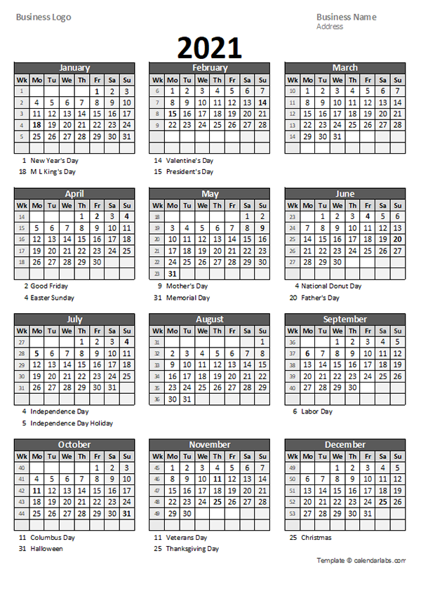 2021 Yearly Business Calendar With Week Number Free