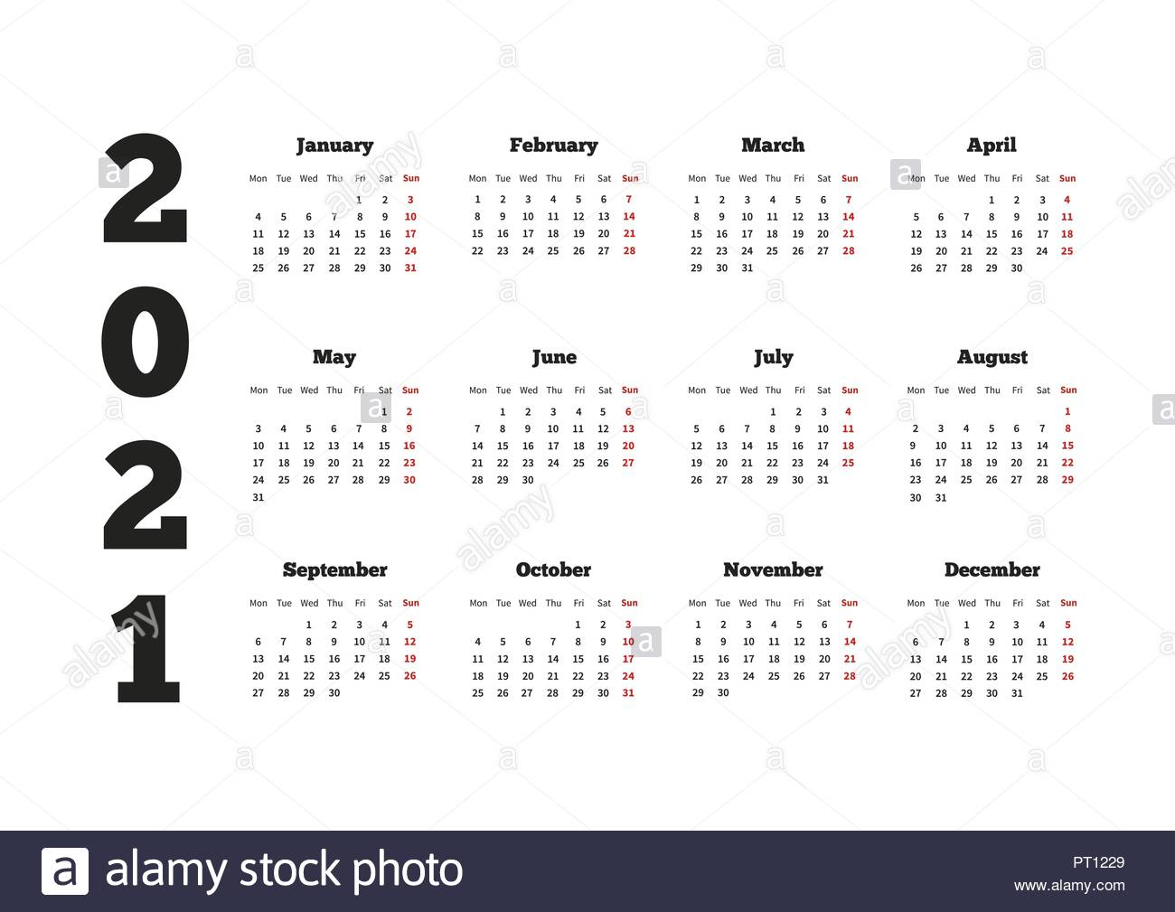 Calendar On 2021 Year With Week Starting From Monday A4