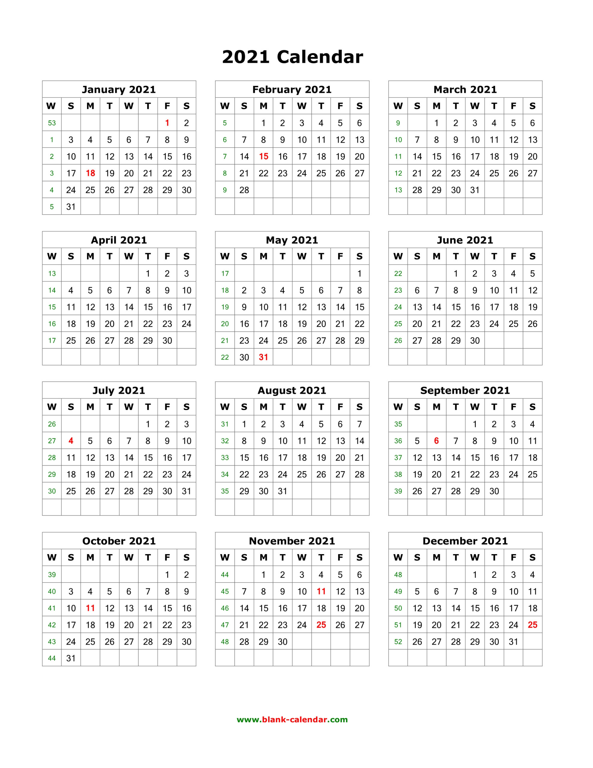 Download Blank Calendar 2021 12 Months On One Page Vertical