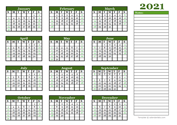 2021 Yearly Calendar With Blank Notes Free Printable