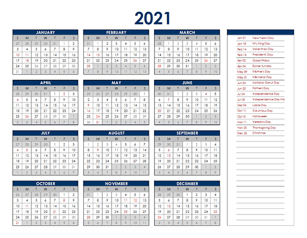2021 Excel Yearly Calendar Free Printable Templates