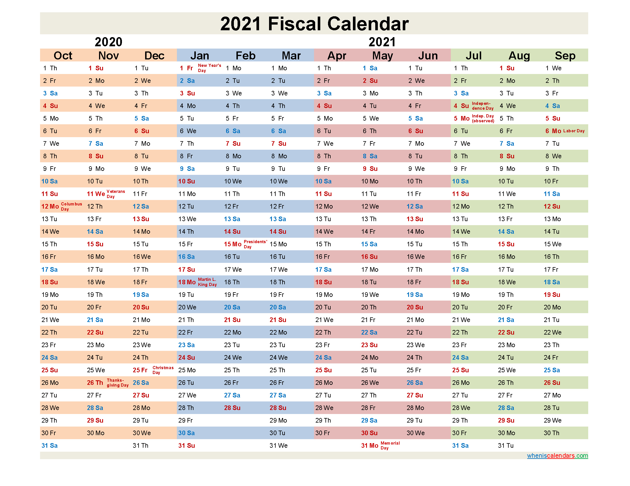 Fiscal Year 2021 Quarters Template No fiscal21y30 Free