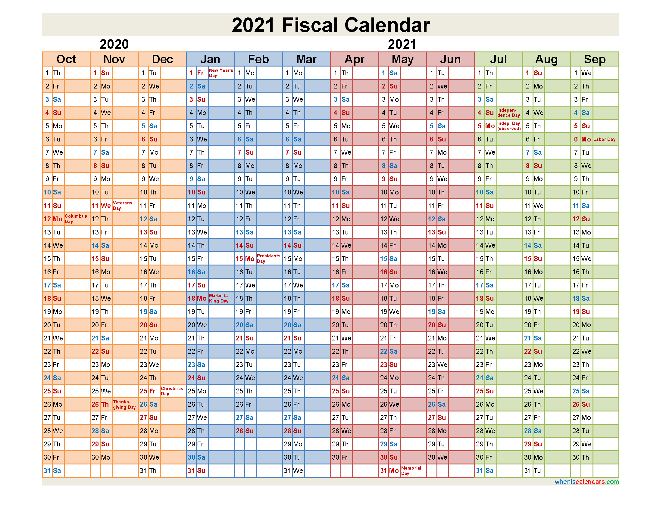 Fiscal Year 2021 Calendar Template No fiscal21y29 Free
