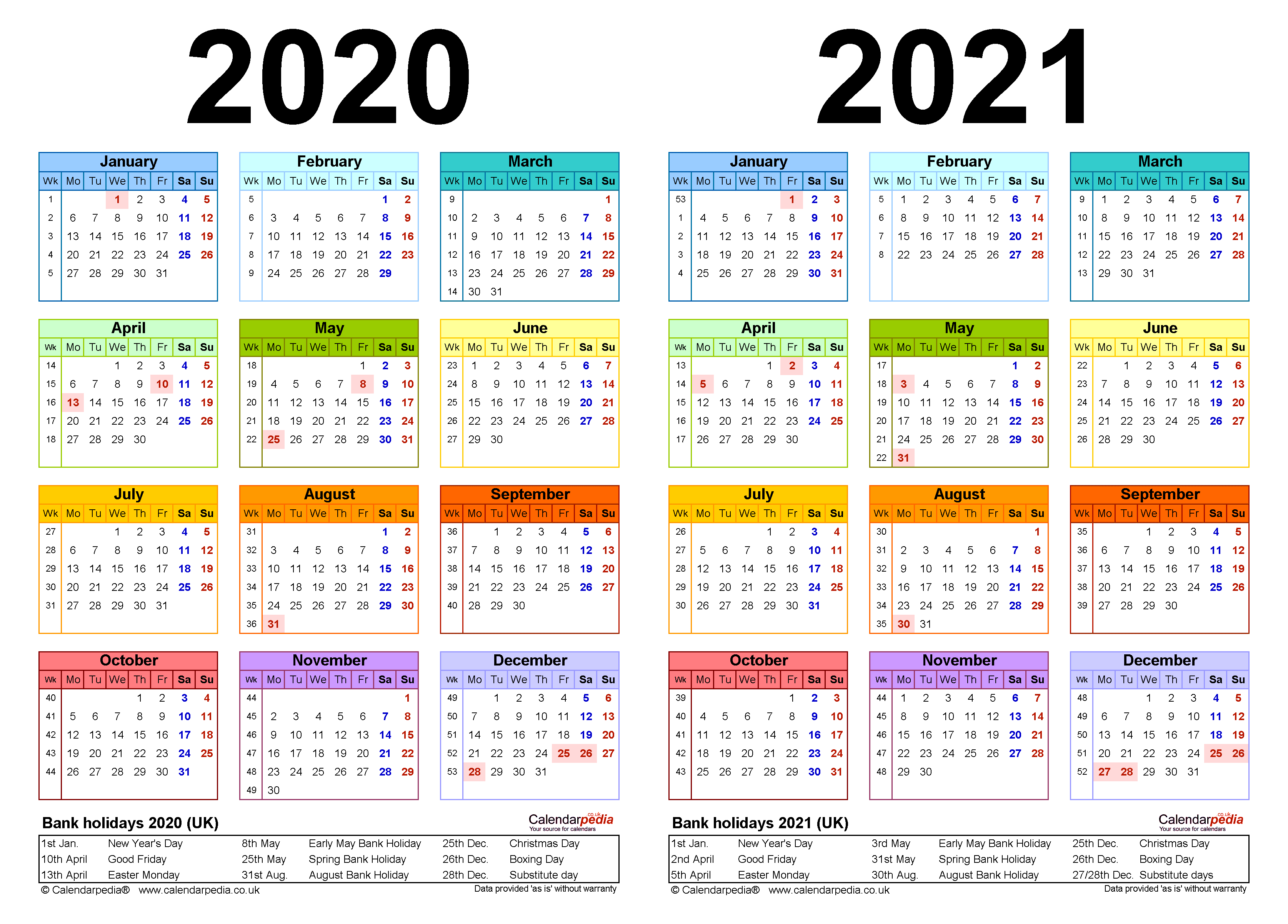 Two Year Calendars For 2020 2021 UK For Word