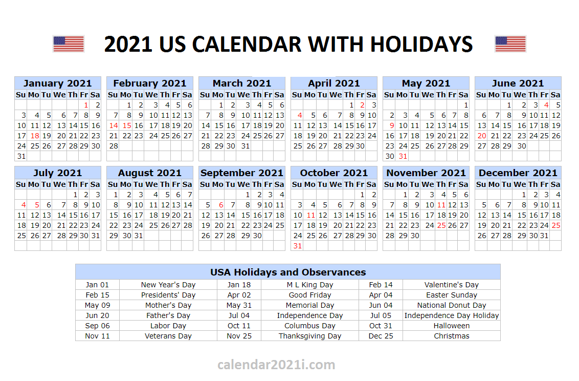 US 2021 Calendar With Holidays United States Printable