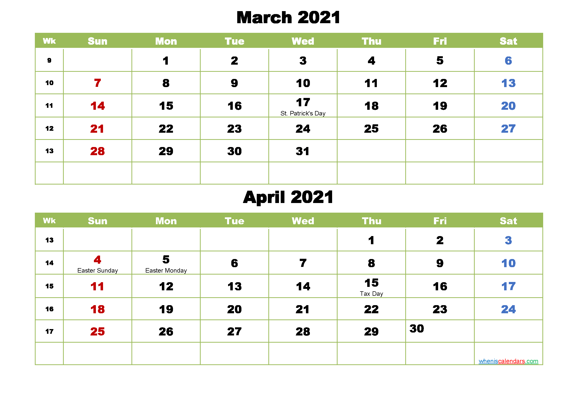 March And April 2021 Calendar With Holidays Free