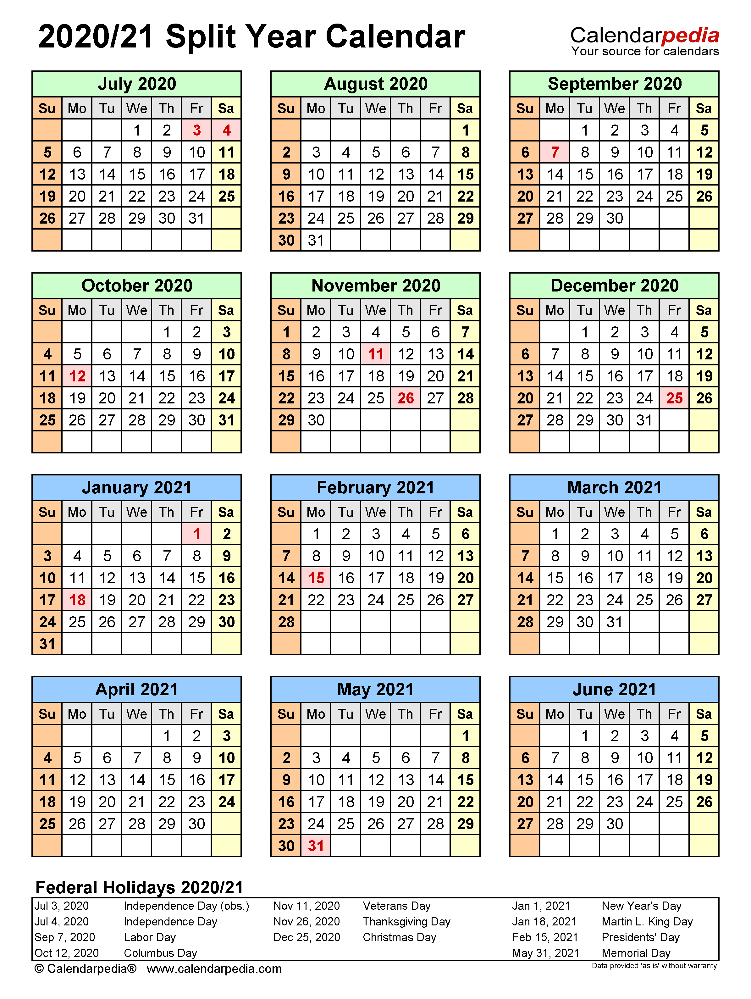 Calendar Aug 2020 To July 2021 Printable March