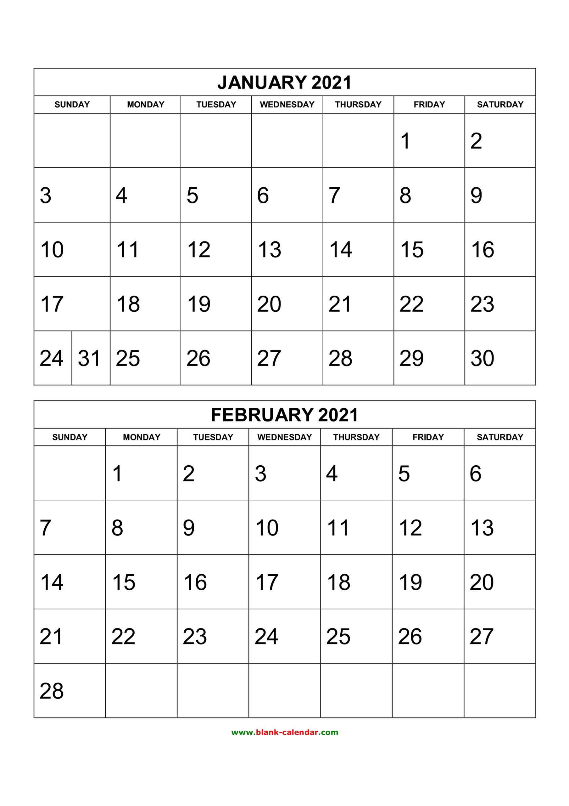 Free Printable 2020 Two Months Per Page Calendars