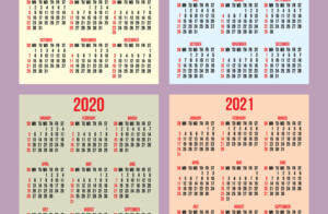 Set Of Calendar Grid For Years 2018 2021 Vector Image