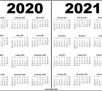 2020 2021 Two Year Calendars Black And White Hipi info