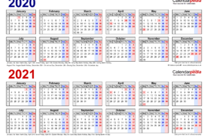 Two Year Calendars For 2020 2021 UK For Excel