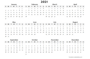 2021 Yearly Blank Calendar Template Free Printable Templates