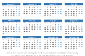 2021 Yearly Calendar With Holidays Horizontal Layout