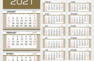 Gold Wall Quarterly Calendar 2021 With Week Numbers Week